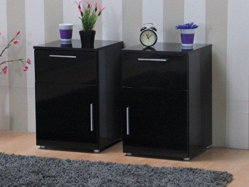 2x nachttisch infiniti nachtschrank nachtkonsole nachtkommode schwarz hochglanz. Black Bedroom Furniture Sets. Home Design Ideas