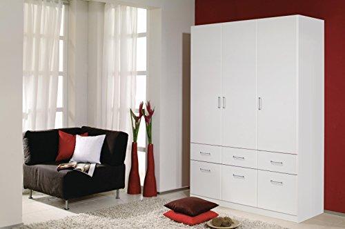A9N69-3851 Aalen Weiß Kleiderschrank Jugendzimmerschrank Schrank 3türig mit 6...