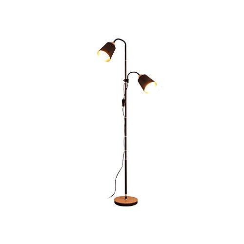 ANDEa Einfache Massivholz Stehleuchte, Wohnzimmer Schlafzimmer Bett Sofa Stehlampe Vertikale Schreibtisch Lampe Teetisch Lampe Kreative Zuhause Einrichtung E27 Doppelte Stehleuchte Originalität