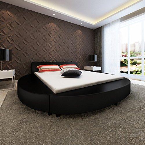 Anself Polsterbett Doppelbett Bett Ehebett Rundbett aus Kunstleder 180x200cm ohne Matratze Schwarz