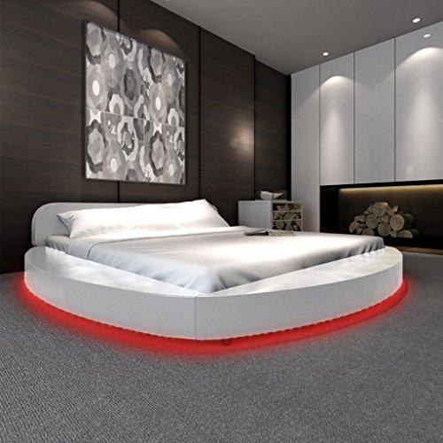 Anself Polsterbett Doppelbett Bett Ehebett Rundbett mit LED-Leiste 180x200cm ohne Matratze Weiß
