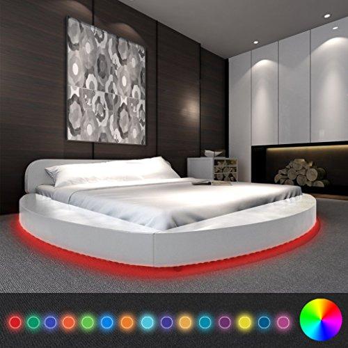 Anself Polsterbett Doppelbett Bett Rundbett aus Kunstleder 180x200cm mit Matratze und LED-Leiste Weiß