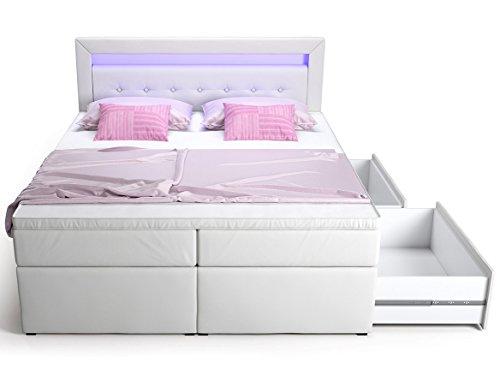 Boxspringbett mit Bettkasten Schubkasten weiß Delia LED Beleuchtung blau Doppelbett Hotelbett Taschenfederkern Topper