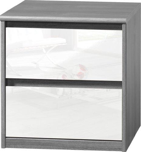 CS Schmalmöbel 75.185.074/01 Grifflose Boxspring Nachtkommode Soft Plus Smart Typ 01, 45 x 55 x 58 cm, silbereiche/weiß hochglanz