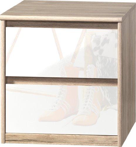 CS Schmalmöbel 75.185.147/01 Grifflose Boxspring Nachtkommode Soft Plus Smart Typ 01, 45 x 55 x 58 cm, sanremo hell/weiß hochglanz