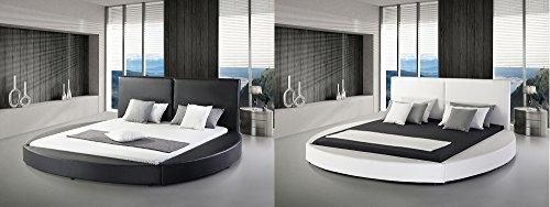 "Designer Rundbett ECHTLEDER Bett / rundes Lederbett ""Luna"" schwarz oder weiss Polsterbett Leder mit Lattenrost / Lattenrahmen 180 x 200 cm abgerundet günstig"