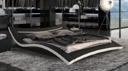 Designerbett Bett Seducce 180 x 200 cm Schwarz/Weiß modernes Design Wasserbett geeignet inkl. LED Beleuchtung