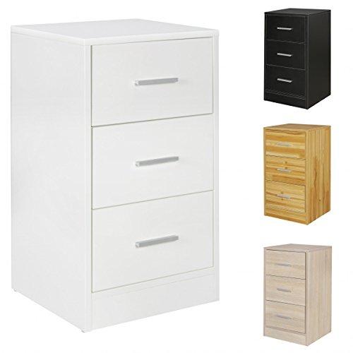 FineBuy Nachtkonsole OLE Holz Nachttisch modern mit 3 Schubladen | Design Nachtkästchen 37,5 x 68 x 35 cm | Extra hohes Nachtschränkchen …