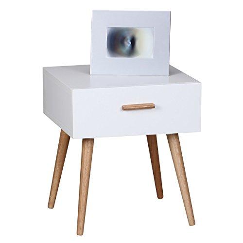 FineBuy Design Retro Nachttisch SKANDI 40 x 46 x 42 cm weiß Matt mit Schublade | Nachtkonsole im skandinavischen Retro Look | Nachtkommode Beine und Griff Holz | Nachtschrank Nordisch