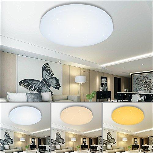 HG® LED Deckenleuchte Deckenlampe Wandlampe rund Deckenbeleuchtung Wohnraum Sternen Wand-Deckenleuchte Esszimmer Schlafzimmer Lampe Starlight-Effekt schön Mordern Panel Energiespar Decken EEK A++ Modern Dekor