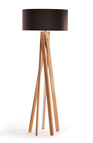Hochwertige Design Stehlampe Tripod mit Textil Schirm aus Chintz in anthrazit/schwarz und Stativ/Gestell aus Holz Echtholz (Buche)   H= 160cm   Stehleuchte   Natur   Handgefertigte Leuchte