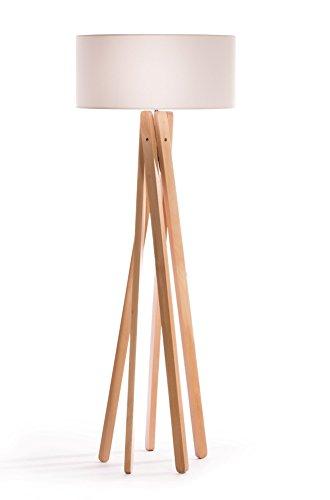 Hochwertige Design Stehlampe Tripod mit Textil Schirm aus Chintz in weiß und Stativ/Gestell aus Holz Echtholz (Buche)   H= 160cm   Stehleuchte   Natur   Handgefertigte Leuchte