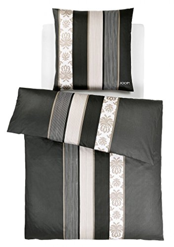 Joop Bettwäsche Ornament Stripes Schwarz 4022 09 Mako Satin