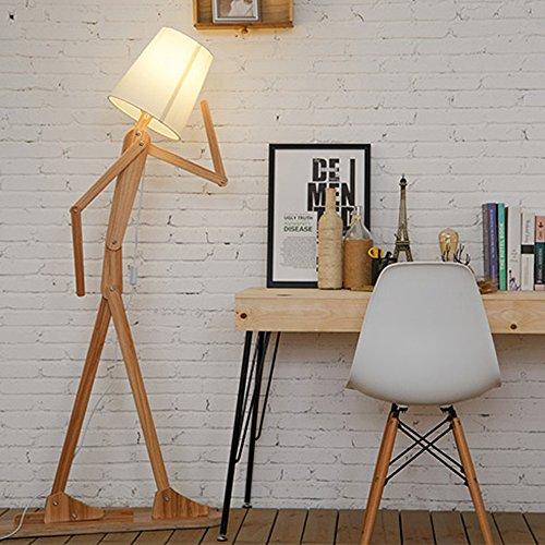 KKG® Raumbeleuchtung Holz Variety Charakter-Modellierung Studie Schlafzimmer Wohnzimmer Stehleuchte LED-Shade Leinen Weiß Moderne Kühle