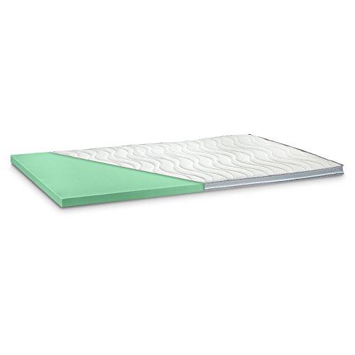Kaltschaum Topper Matratzenauflage | 7 cm Gesamthöhe | Härte wählbar in H2 weich und H3 fest | abnehmbarer und waschbarer Bezug | Bezug wahlweise mit 3D-Mesh-Klimaband und Stegkanten