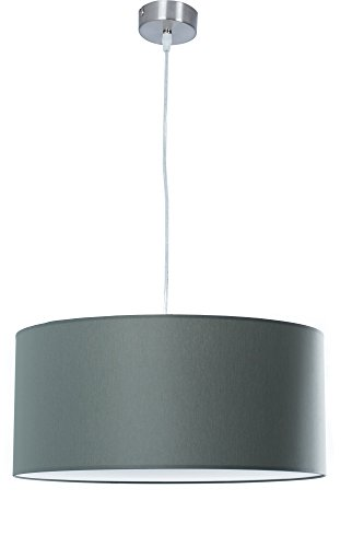 Hochwertige Hängelampe mit Abdeckung Ø 55cm | Hängeleuchte aus Chintz Stoff | Grau | XXL Lampe | Pendelleuchte | Wohnzimmer | Esszimmer | Schlafzimmer | Küche | Schirm Rund | Modern | LED geeignet | dimmbar | 2x E27 Fassung |