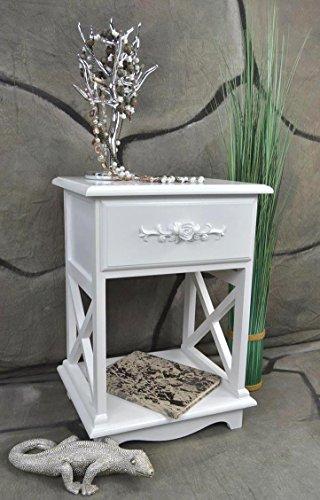 Livitat® Nachttisch Nachtschrank Nachtkonsole Nachschränckchen Nachtkommode Shabby Weiß barock LV4020