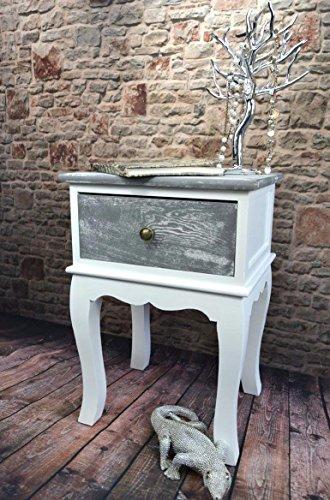 Livitat®®®® Nachttisch Nachtschrank Nachtkonsole Nachschränckchen Nachtkommode Weiß Shabby Chic Barock