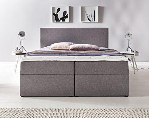 Furniture for Friends Möbelfreude BIANCA | 160x200 cm Hellgrau H2 | mit Bettkasten & Hochwertiger Bonell Federkernmatratze | Polsterbett Boxspringbett