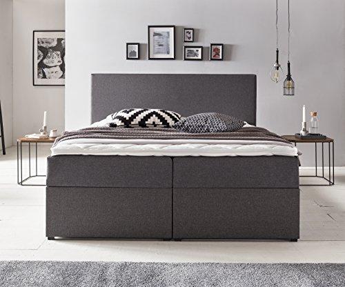 Furniture for Friends Möbelfreude® BIANCA | 180x200 cm Anthrazit H2 | mit Bettkasten & Hochwertiger Bonell Federkernmatratze | Polsterbett Boxspringbett