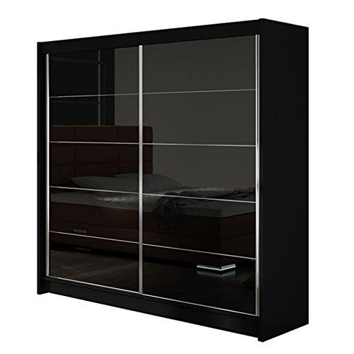 Modernes Kleiderschrank Falco I, Schlafzimmerschrank, Schiebetürenschrank, Hochglanz, Garderobe, Schlafzimmer, 180 x 215 x 58 cm, Schwebetürenschrank