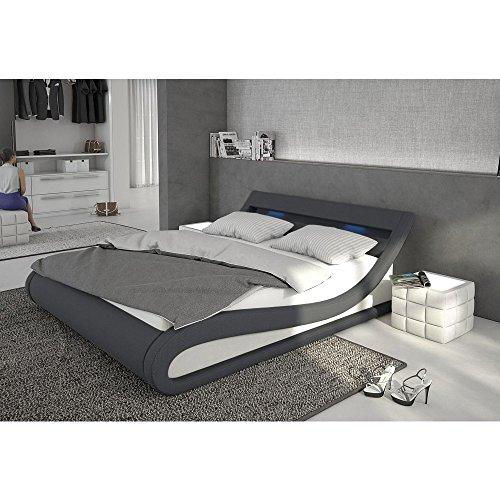 Polster-Bett 140x200 cm dunkelgrau-weiß aus Stoff und Kunstleder Kombi mit LED-Beleuchtung   Bellugia   Das Stoff-Bett ist ein Designer-Bett   Doppel-Betten 140 cm x 200 cm mit Lattenrost in Textil, Made in EU