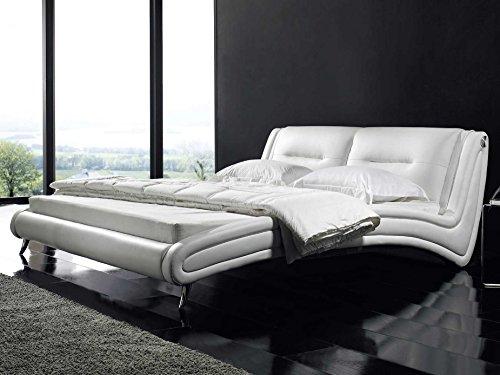 Polsterbett 160x200 Designer Bett Sunshine Weiß Kunstleder