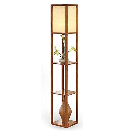 QIANGUANG® Innenbeleuchtung 1,6m Holz Stehleuchte mit Regalen für ...