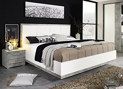 rauch bett 180 x 200 cm mit polster kopfteil incl nachttisch paar siegen b 185 h. Black Bedroom Furniture Sets. Home Design Ideas