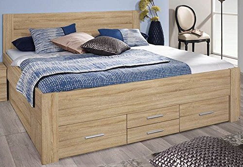 rauch bett 140x200 cm isotta b 145 h 96 t 208 cm korpus front eiche sonoma. Black Bedroom Furniture Sets. Home Design Ideas