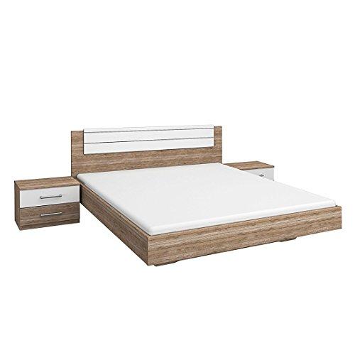 Rauch Bett 160x200 mit Nachttischen, Eiche San Remo Hell, Absetzung Weiß Alpin, Stellmaß LxBxH 206x85x265 cm