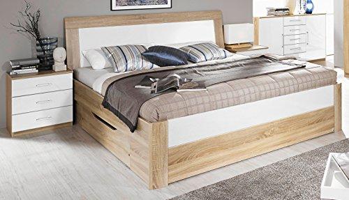 Rauch Bett mit 2 Schubkästen Eiche Sonoma/Hochglanz weiß 160 x 200 cm