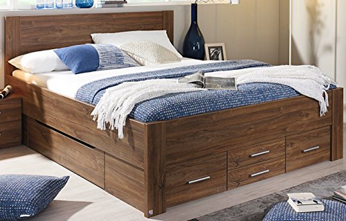 rauch bett mit 6 schubk sten eiche stirling 140 x 200 cm schubladenbett funktionsbett m bel24. Black Bedroom Furniture Sets. Home Design Ideas