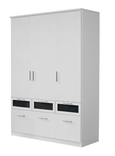 Rauch Kleiderschrank 3-türig Weiß Alpin mit Schubladen, Glas Absetzung Schwarz, BxHxT 136x199x56 cm