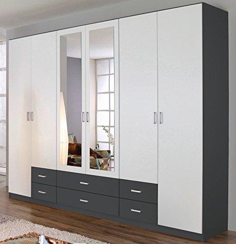 Rauch Kleiderschrank 6-türig, 2 Spiegeltüren, 6 Schubkästen, Grau Metallic-alpinweiß
