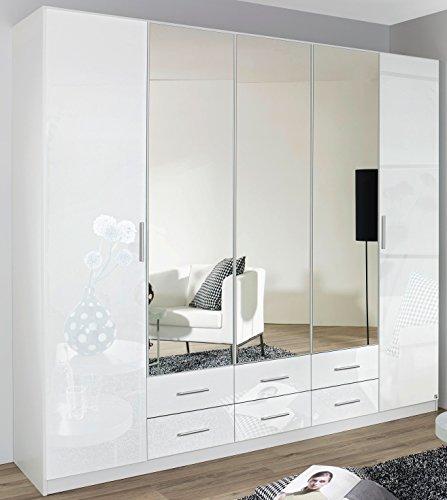 Rauch Kleiderschrank 6-türig, 2 Spiegeltüren, 6 Schubkästen, Hochglanz weiß