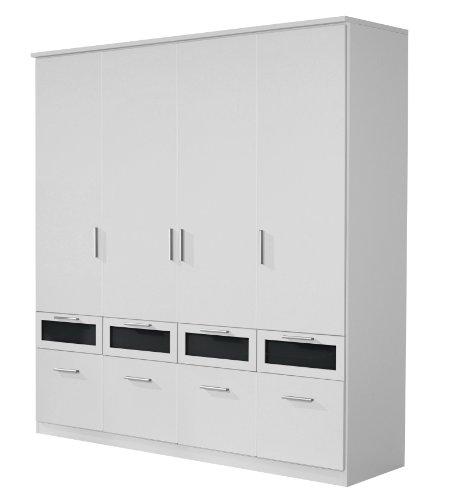 Rauch Kleiderschrank mit Schubladen Weiß Alpin 4-türig, BxHxT 181x199x56 cm