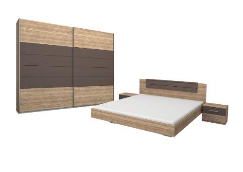 Rauch Schlafzimmer Komplett Set mit Bett 180x200, Schwebetürenschrank und Nachttischen, Eiche San Remo hell, Absetzungen Lavagrau