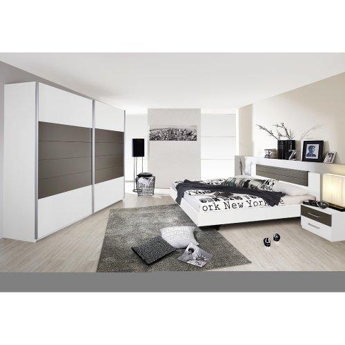 Rauch Schlafzimmer Komplett Weiß, Schlafzimmer Set mit Schwebetürenschrank, Bett, Nachtkommoden, Absetzungen Lavagrau Nachbildung