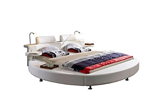 Rundbett Classico 200 x 200 cm in weiß mit Beleuchtung Designbett mit Nachttisch Kommode