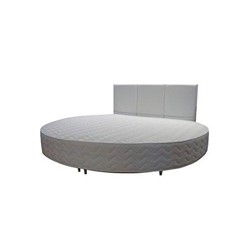 Rundbett Polsterbett Ehebett rundes Bett mit gestepptem Kopfteil Hotelbett Schlaffzimmer