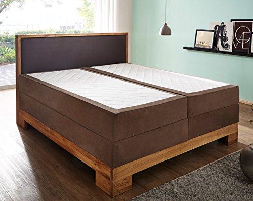 SAM Design Boxspringbett Sirin, Box mit Holzrahmen und Bonellfederkern, durchgehende 7 Zonen Taschenfederkernmatratze, optimale Einstiegshöhe, Kopfteil aus braunem Kunstleder, 140 x 200 cm