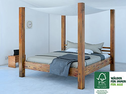 sam design himmelbett aus akazien holz holzbett in parkett optik widerstandsf hige oberfl che. Black Bedroom Furniture Sets. Home Design Ideas