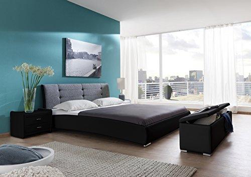 SAM Design Polsterbett 200x220 cm Bastia, schwarz-grau, Kopfteil abgesteppt, mit Chromfüße, als Wasserbett verwendbar