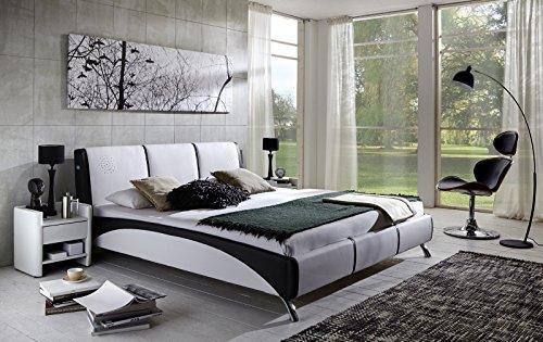 SAM Design Polsterbett 160x200 cm Funchal mit Soundsystem, in weiß/schwarz, komfortable Rückenlehne, modernes Design