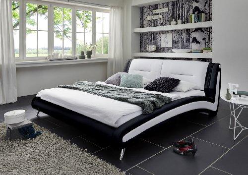 SAM Design Polsterbett 200x200 cm Silva in schwarz/weiß, Chrom farbene Füße, Kopfteil gepolstert, Wasserbett geeigne