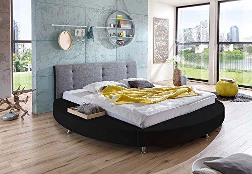 SAM Design Rundbett 180x200 cm Bastia, schwarz/grau, Kopfteil abgesteppt, mit Chromfüßen, als Wasserbett verwendbar