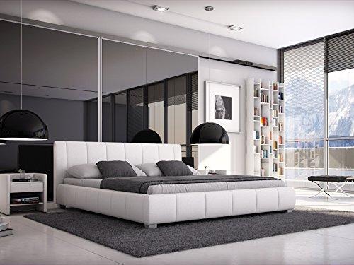 SAM® Designer-Polsterbett Luna in weiß mit gepolstertem, hohen Kopfteil, Bett in modernem Design und pflegeleichter Oberfläche aus edlem Samolux®-Bezug und massiven Füßen 140 x 200 cm