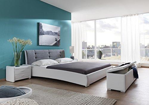 SAM Polsterbett 180x200 cm Bastia, weiß-grau, Design-Bett mit Kunstlederbezug & Stoff, abgestepptes Kopfteil