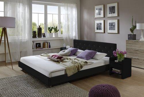 SAM® Polsterbett Adonia schwarz 160 x 200 cm Kopfteil abgesteppt Ziersteine silber lackierte Metallfüße